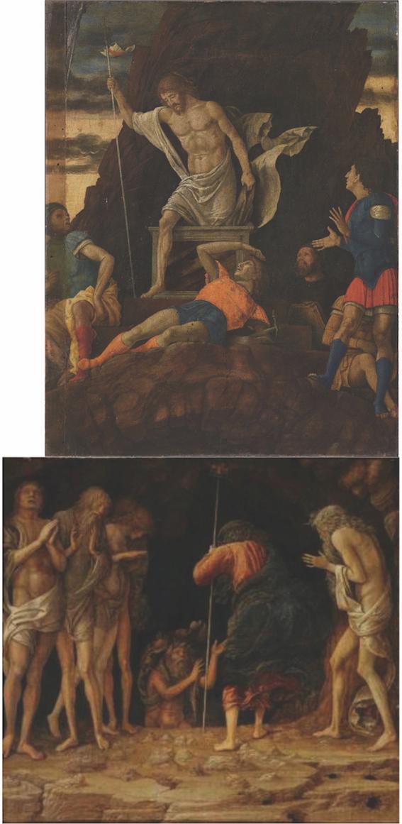 Ricostruzione dei due dipinti contigui di Mantegna: Resurrezione di Cristo, Accademia Carrara Bergamo e Discesa al Limbo, collezione privata