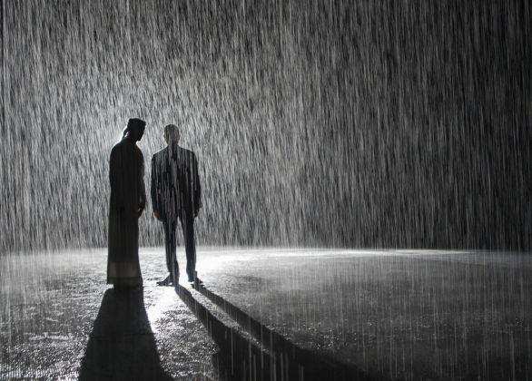 Random International, Rain Room, 2012. Exhibited at Sharjah Art Foundation, 2018. Image courtesy of Sharjah Art Foundation