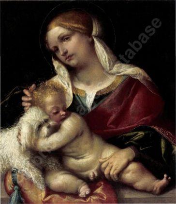 Alessandro Bonvicino detto il Moretto, Madonna col Bambino che abbraccia un cane, 1516 ca. Alana Collection, Newark, Delaware