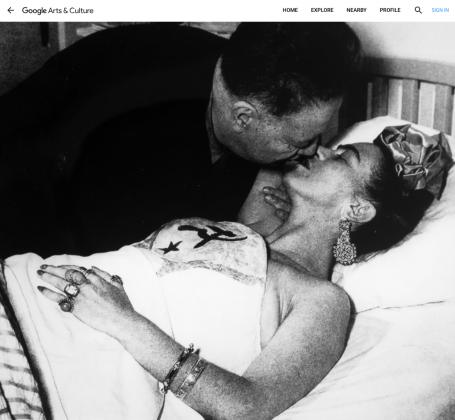 Diego Rivera con Frida Kahlo en el Hospital Inglés