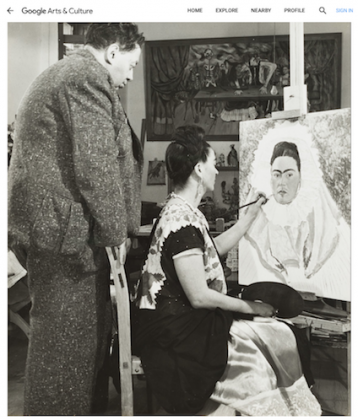Diego Rivera watching Frida paint a self portrait