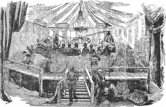Benjamin Waterhouse Hawkins, Cena nella ricostruzione dell'iguanodonte, London Illustated News, 1854