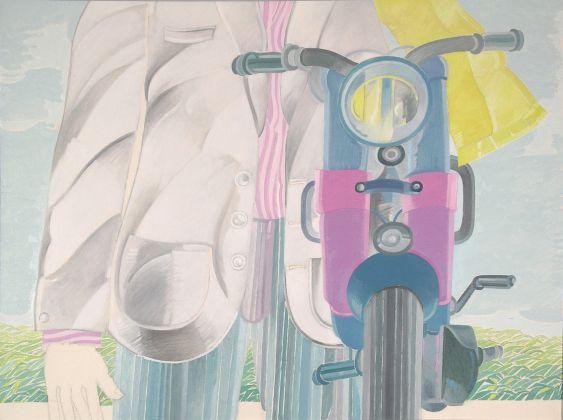 Umberto Buscioni,Con la moto, 1967 Olio e smalto su tela Centro per l'Arte Contemporanea Luigi Pecci, Prato Donazione di Carlo Palli