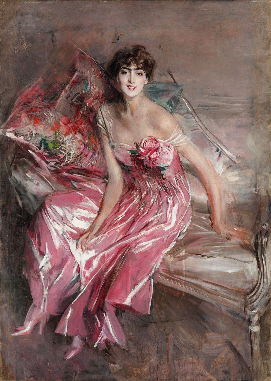 Giovanni Boldini, La signora in rosa (Ritratto di Olivia Concha de Fontecilla), 1916. Ferrara, Museo Giovanni Boldini © Gallerie d'Arte Moderna e Contemporanea, foto Tiziano Menabò