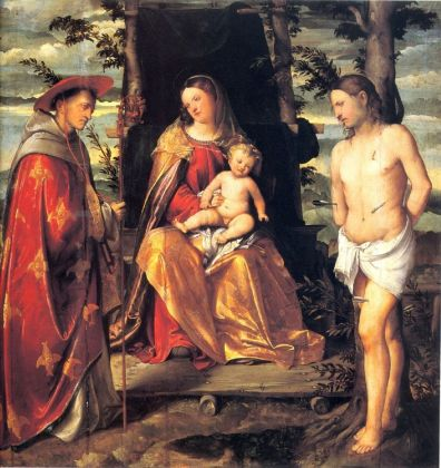 Girolamo Romanino, Madonna col Bambino tra San Ludovico di Tolosa e San Sebastiano, 1517-18 ca. Salò, Duomo
