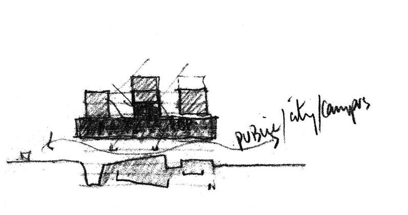 Grafton Architects, Sketch section for Bocconi, Università Luigi Bocconi, Milano 2008