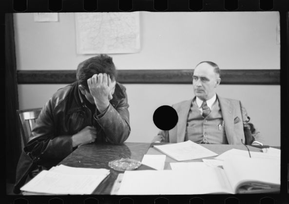 Theodor Jung Untitled photo, possibly related to: Rehabilitation client worrying over his accounts, Jackson County, Ohio April 1936 Digital print from scanned 35mm b&w negative Library of Congress, Prints & Photographs Division, FSA/OWI Collection