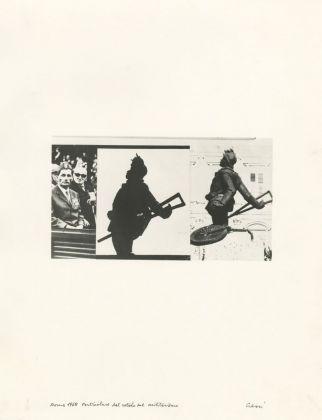 Mario Cresci, Roma, 1968, particolare del rotolo sul militarismo, 1968