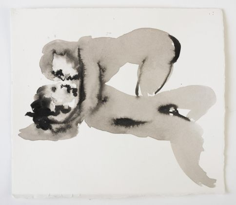 Marlene Dumas, Venus with the Body of Adonis, 2015–16. Ink wash and metallic acrylic on paper. 25,5 x 28,5 cm. Collection of the artist. © Marlene Dumas. Photo Peter Cox