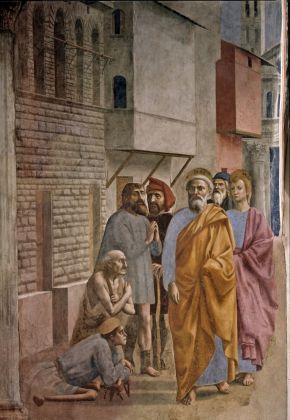 Masaccio, San Pietro risana gli infermi con la sua ombra, 1425-27. Chiesa di Santa Maria del Carmine, Firenze
