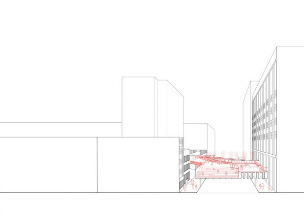 New York, High end along the High Line. Architectural drawing by Angelo Caccese