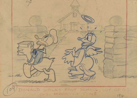 Donald's Better Self , 1938. Disney Studio Artist. Story sketch Colored pencil and graphite on paper © Disney Enterprises Inc.