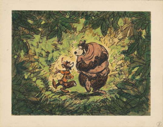 Robin Hood, 1973. Disney Studio Artist. Concept art. Gouache, marker, and ink on paper © Disney Enterprises Inc.