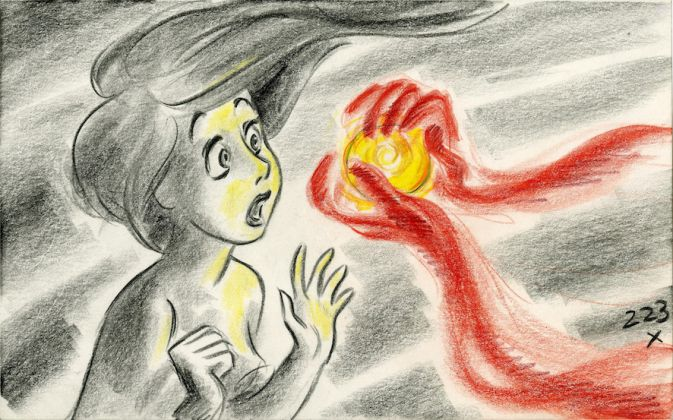 The Little Mermaid , 1989. Roger Allers. Story sketch. Colored pencil on paper © Disney Enterprises Inc.