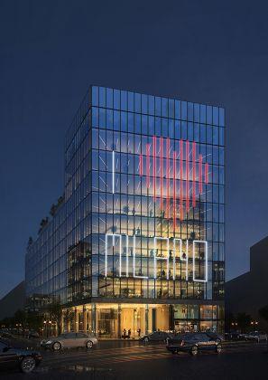 GBPA Architects, Palazzo di Fuoco. Piazzale Loreto, Milano – Vista notturna. Courtesy GBPA Architects