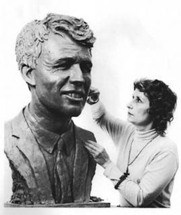 Anneta Duveen at work on her Robert F. Kennedy sculpture, 1971