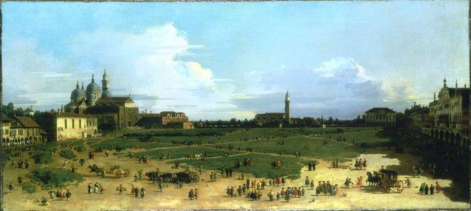 Canaletto (1697-1768), Prato della Valle, con Santa Giustina e il monastero di benedettine, Santa Maria della Misericordia, Padova, 1756 ca., olio su tela, cm 40 x 87,5. Collezione privata