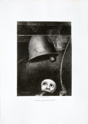 Odilon Redon, Une masque sonne la cloche funèbre, 1882