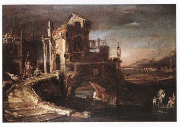 Canaletto (Venezia 1697-1768), Capriccio notturno con ponte, 1722-1723, olio su tela, cm 64 x 92, Svizzera, collezione privata