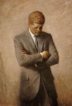 Posthumous official presidential portrait of U.S. President John F. Kennedy