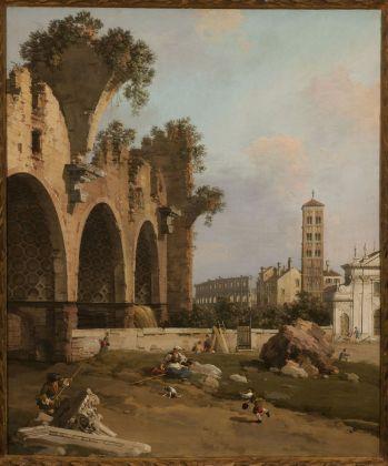 Canaletto (Venezia 1697-1768), La Basilica di Massenzio, Santa Francesca Romana e il Colosseo, Roma, 1753-1754, olio su tela, cm 130 x 108,5. Collezione privata, courtesy of Matteo Salamon