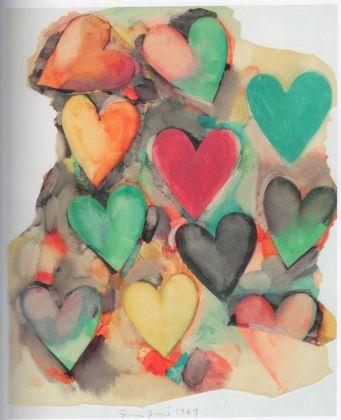 JIM DINE Untitled (Hearts), 1969 Gouache su pergamena applicata su carta 67.3 x 55.8 cm COURTESY Vitart SA