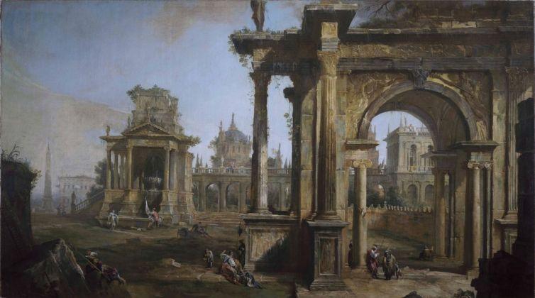 Canaletto (1697-1768), Capriccio con rovine, 1723, olio su tela, cm 178 x 322, Svizzera, Collezione privata
