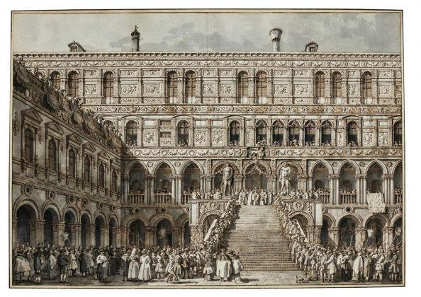 Canaletto (1697-1768), L'incoronazione del Doge sulla Scala dei Giganti di Palazzo Ducale, Venezia, 1763-1766, penna, inchiostro bruno e acquerello grigio, con tocchi di biacca su gesso nero, mm 389 x 554, courtesy of Jean-Luc Baroni Ltd