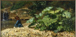 Filippo Palizzi, Gran pianta acquatica sul greto d'un torrente figurina di bambina seduta, Cava, 1861, Olio su tela, 56 x 32 cm.Galleria Nazionale d'Arte Moderna e Contemporanea di Roma