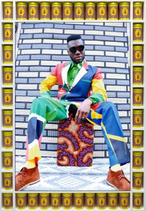 Hassan HajjajAfrikan Boy Sittin', 2013/1434 Edition 1 of 5142 x 97.5 cmPhotography by©Hassan Hajjaj 2013/1434. Courtesy of the Artist and Vigo Gallery, London UK