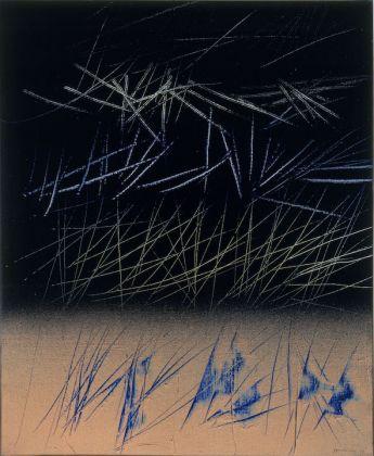 Hans Hartung, T1964-R9, 1964. Olio su tela 73x60 cm. Dono Gianfranco Spajani, 1999. GAMeC – Galleria d'Arte Moderna e Contemporanea di Bergamo. Foto: Claudio Bruni
