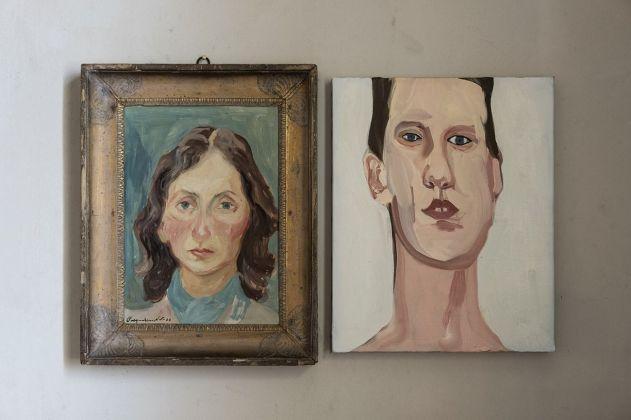 Lia Pasqualino Noto, Autoritratto, 1938. Courtesy Collezione Famiglia Pasqualino. Chantal Joffe, Head Study, 2009. Courtesy Galleria Monica De Cardenas, Milano
