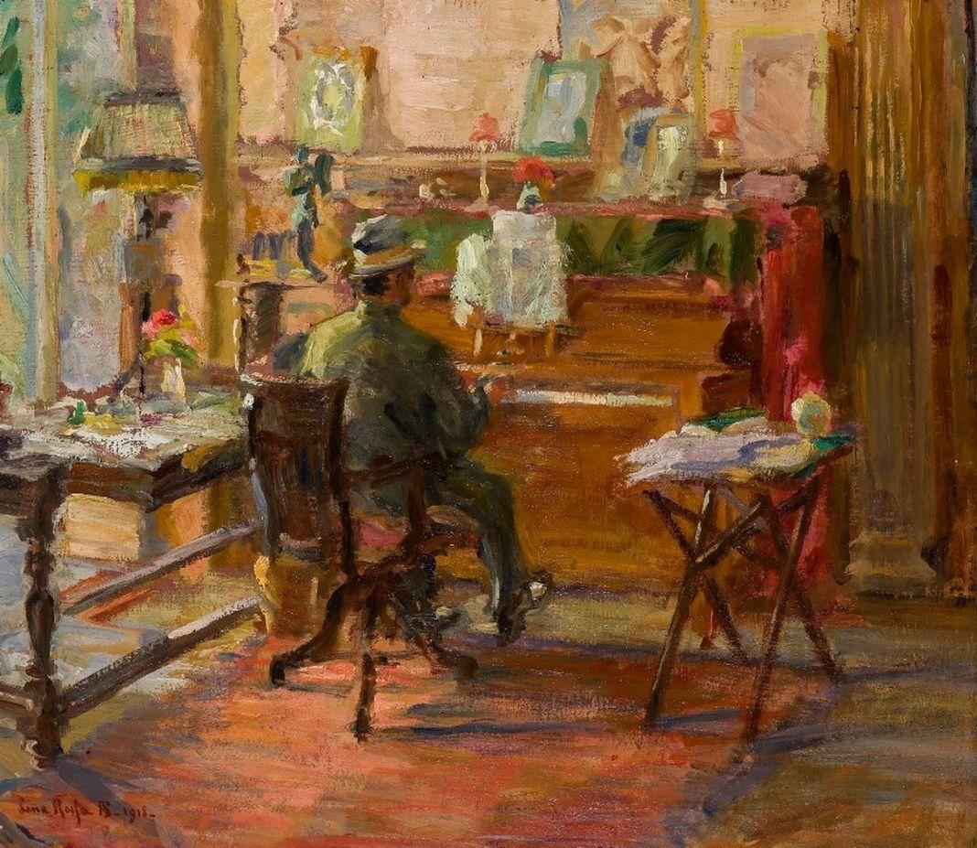 Lina Rosso, Puccini al piano, 1918. Fondazione Simonetta Puccini per Giacomo Puccini. Photo Ghilardi, Lucca
