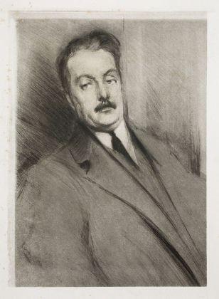 Lino Selvatico, Ritratto di Giacomo Puccini, 1910. Collezione privata