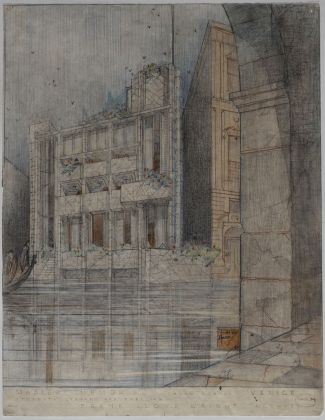 Masieri Memorial students' library and residence (Venice, Italy). Unbuilt Project, perspective, The Frank Lloyd Wright Foundation Archives (The Museum of Modern Art Avery Architectural & Fine Arts Library, Columbia University