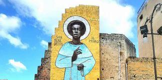 Palermo, Ballarò, il muro di Igor Scalisi Palminteri dedicato a San Benedetto il Moro
