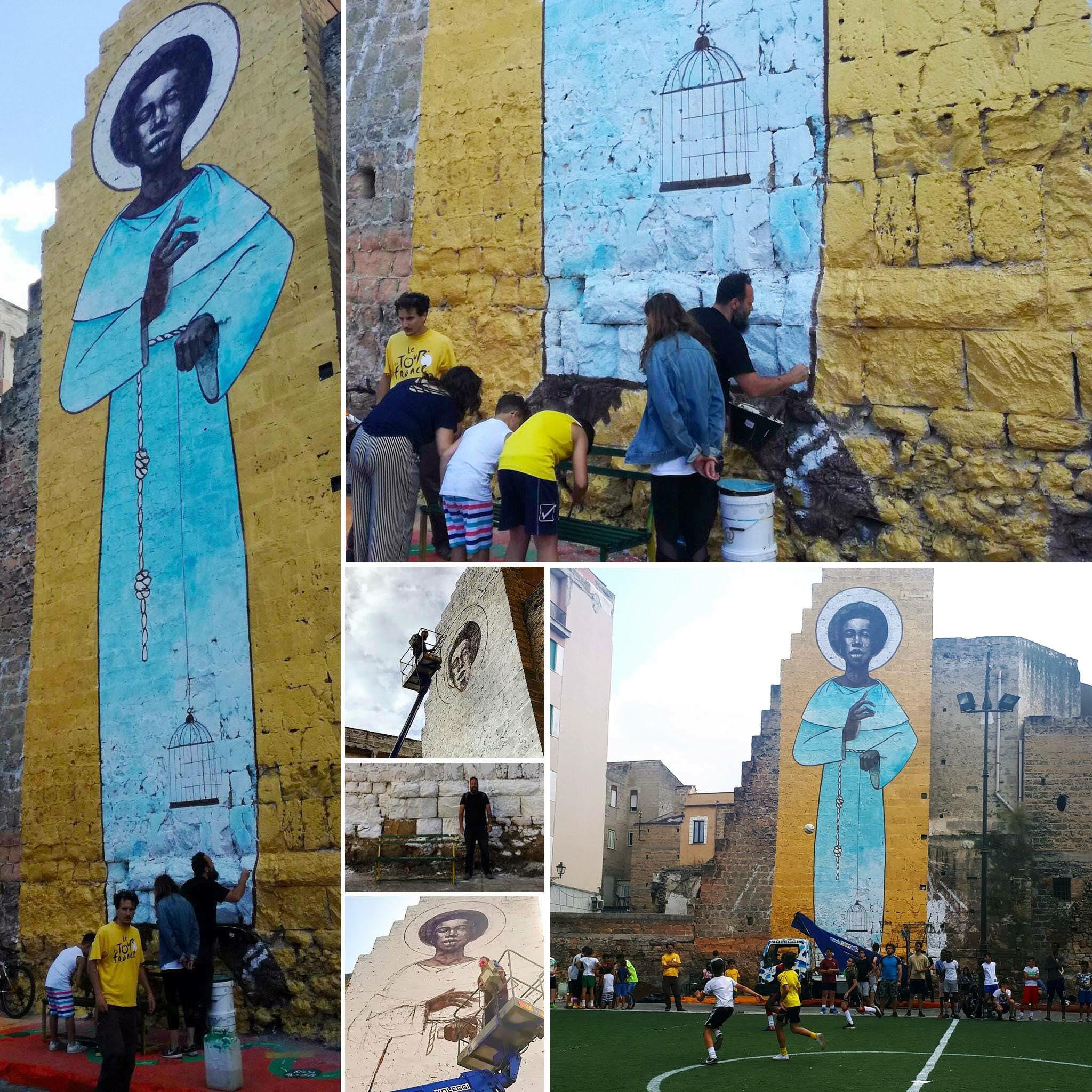 Palermo, Ballarò, il muro di Igor Scalisi Palminteri dedicato a San Benedetto il Moro e le partite di calcetto multietniche
