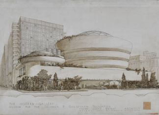 Solomon R. Guggenheim Museum (New York, New York). Exterior perspective, The Frank Lloyd Wright Foundation Archives (The Museum of Modern Art Avery Architectural & Fine Arts Library, Columbia University, New York)