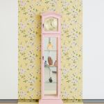 Genevieve Gaignard The Golden Hour, 2017 Grandfather clock, custom porcelain figurines, found perfume bottle 74 x 16 x 11 inches© Genevieve Gaignard, courtesy of the artist and Shulamit Nazarian, Los Angeles