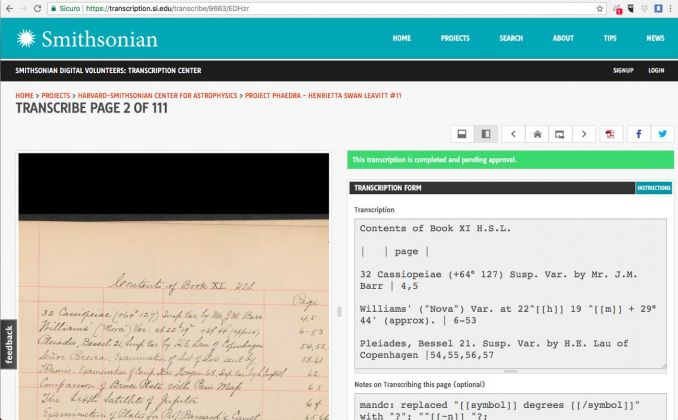 Una pagina dello Smithsonian Transcription Center