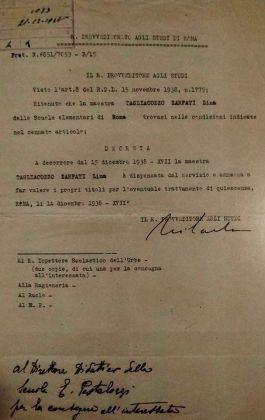 Vite spezzate. Decreto con cui Lina Zarfati viene dispensata dal servizio, dicembre 1983