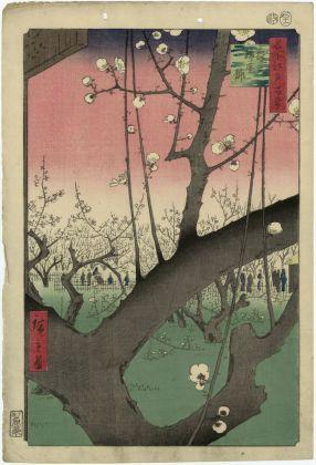 Utagawa Hiroshige Kameido. Il giardino dei susini Serie: Cento vedute di luoghi celebri di Edo 1857, undicesimo mese 370 x 252 mm silografia policroma Museum of Fine Arts, Boston – William Sturgis Bigelow Collection
