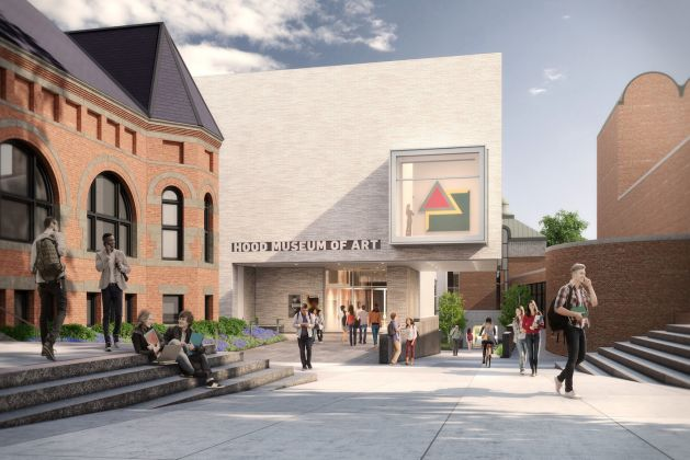 Museum of Art at Dartmouth College. Rendering by MARCH. Artist rendering of the north façade of the expanded Hood