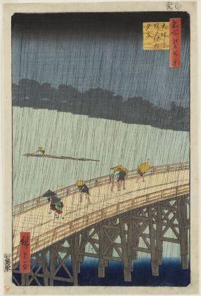 Utagawa Hiroshige Ōhashi. Acquazzone ad Atake Serie: Cento vedute di luoghi celebri di Edo 1857, nono mese 360 x 240 mm silografia policroma Museum of Fine Arts, Boston - Nellie Parney Carter Collection—Bequest of Nellie Parney Carter