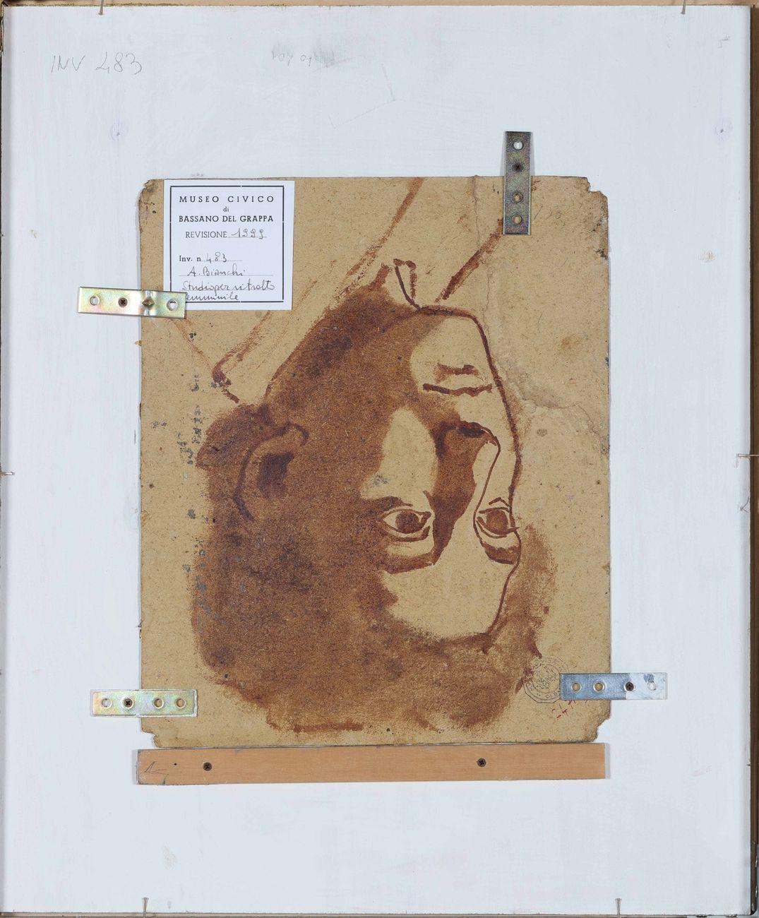 Antonio Bianchi, Testa di donna con orecchini e catenina, XIX sec. - retro