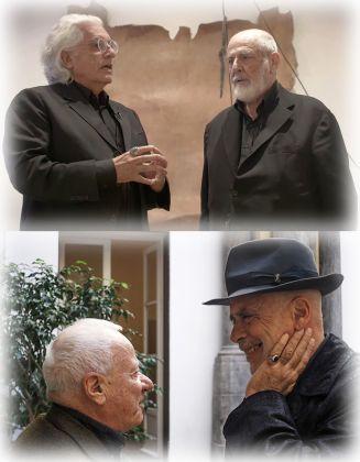 Due esempi di mentori efficaci e fedeli negli anni. Sopra, Germano Celant (con Michelangelo Pistoletto); sotto, Achille Bonito Oliva (con Francesco Clemente)