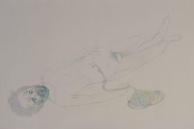 Erjon Nazeraj, Placenta, tecnica mista su carta, 95 x 56 cm, 2016
