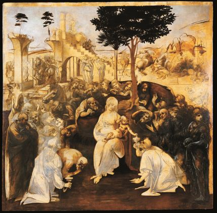 Andrea del Verrocchio (Firenze, 1435 – Venezia 1488) Leonardo da Vinci (Vinci 1452 – Amboise 1519), Battesimo di Cristo. C. 1475 tempera and oil on wood