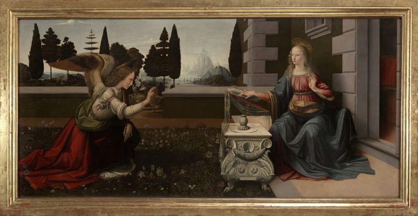 Leonardo da Vinci (Vinci 1452 – Amboise 1519), Annunciation. C. 1472-1475 oil on wood
