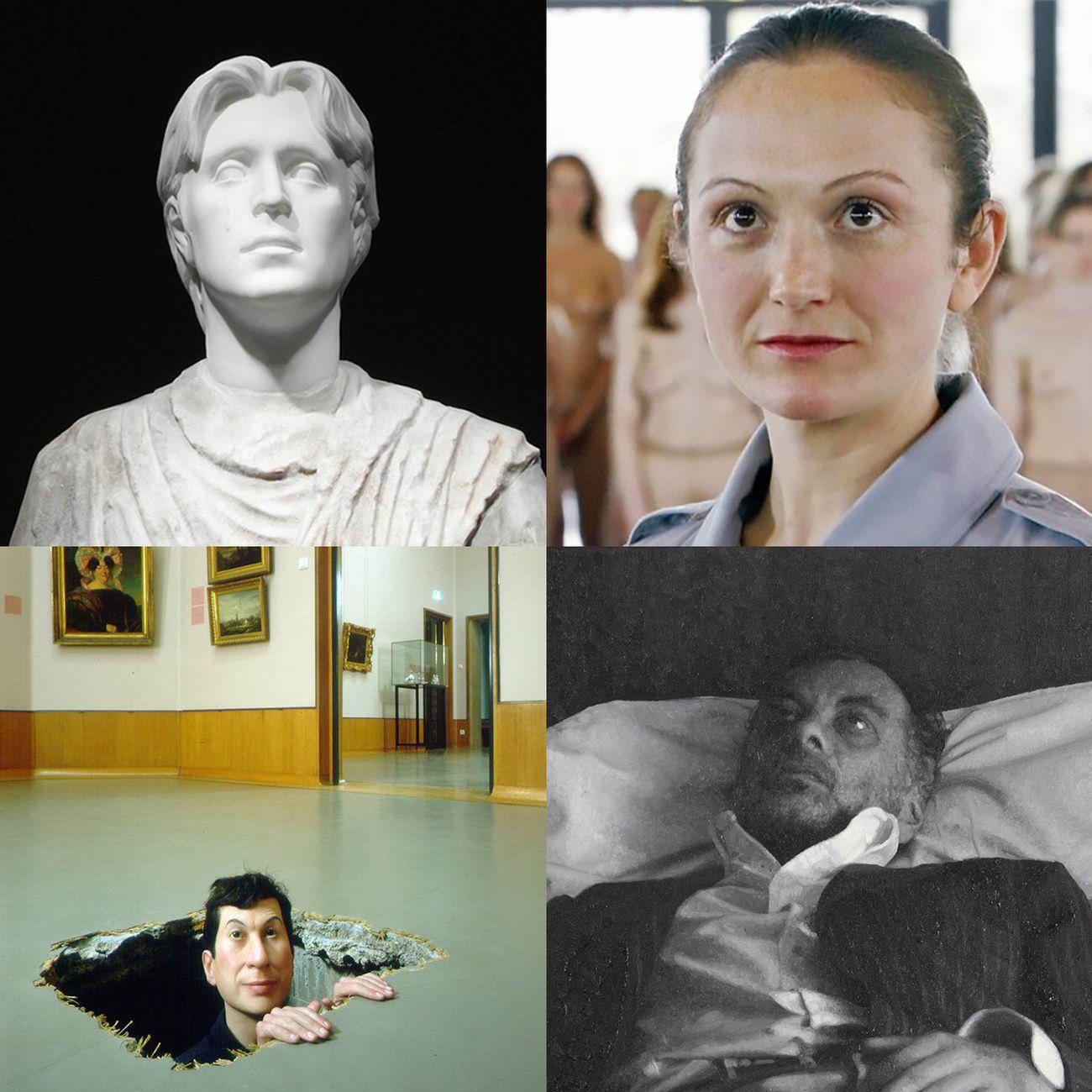 """I """"Fantastici Quattro"""" dell'arte italiana. In senso orario, Francesco Vezzoli, Vanessa Beecroft, Rudolf Stingel e Maurizio Cattelan"""